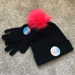 JUSTICE Set of black Pom Pom beanie & gloves